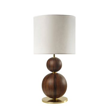 Lampshade IMBU 02 polished brass + sphere imbuia wood blade + vegetal parchment shade