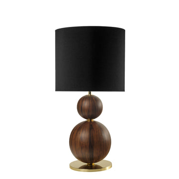 Lampshade IMBU 02 polished brass + sphere imbuia wood blade + black linen shade