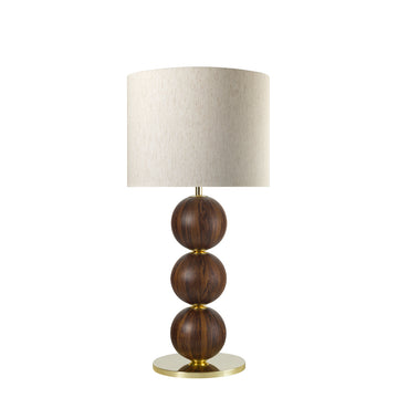Lampshade IMBU 04 polished brass + sphere imbuia wood blade + mix linen shade