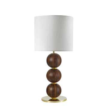 Lampshade IMBU 04 polished brass + sphere imbuia wood blade + white linen shade