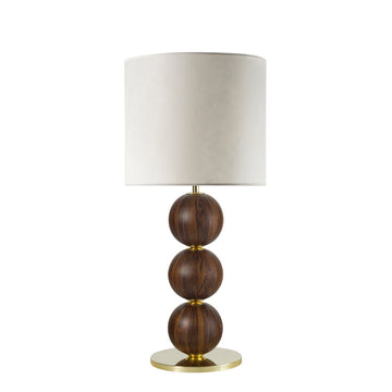 Lampshade IMBU 04 polished brass + sphere imbuia wood blade + vegetal parchment shade