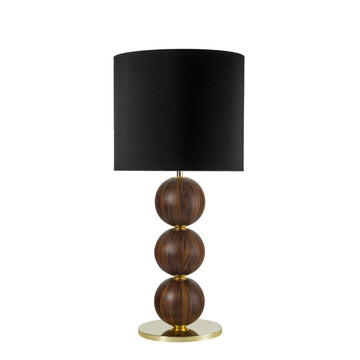 Lampshade IMBU 04 polished brass + sphere with umbuia wood blade + black linen shade