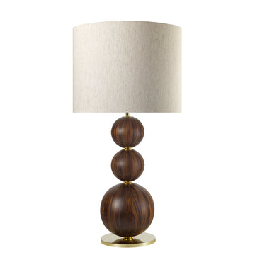 Lampshade IMBU 03 polished brass + sphere with umbuia wood blade + mix linen shade