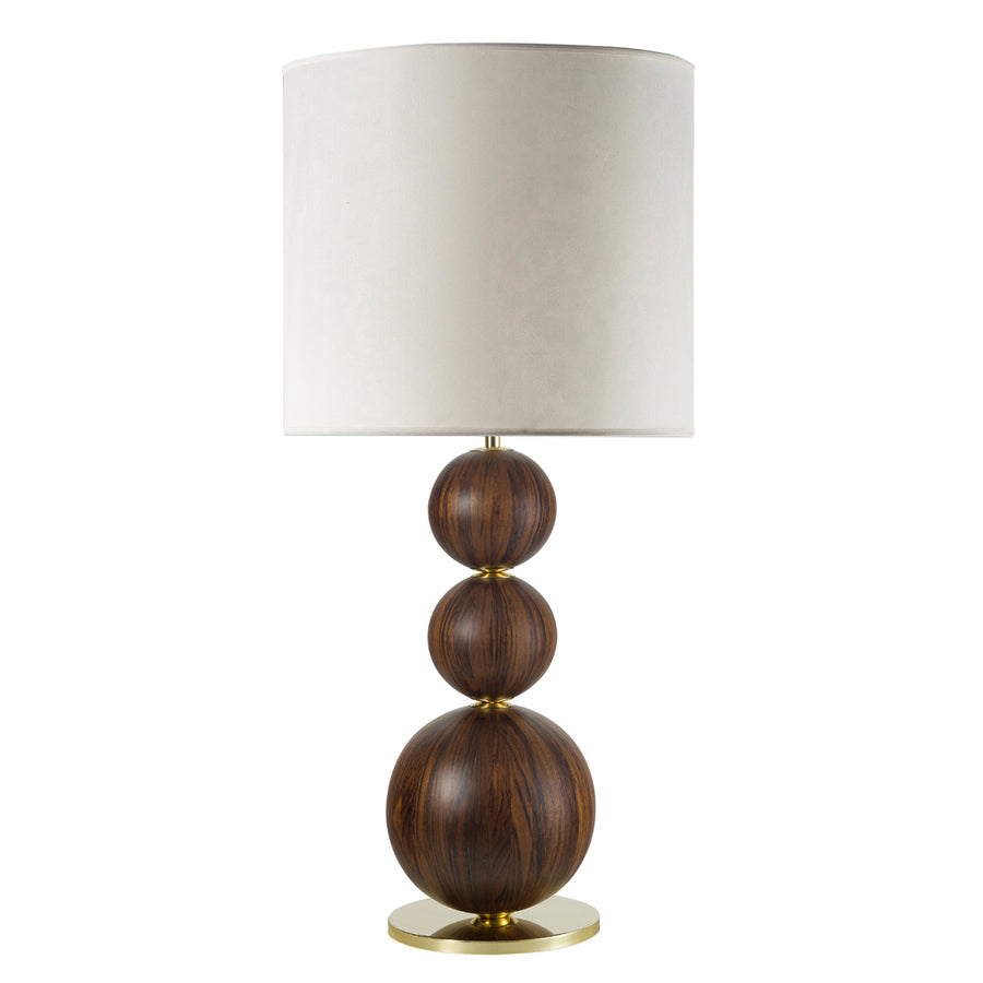 Lampshade IMBU polished brass + sphere with imbuia wood blade + vegetal parchment shade