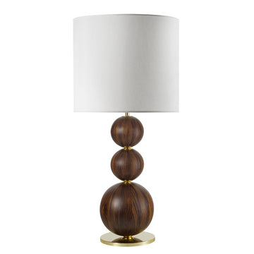 Lampshade IMBU 03 polished brass + sphere with imbuia wood blade + white linen shade