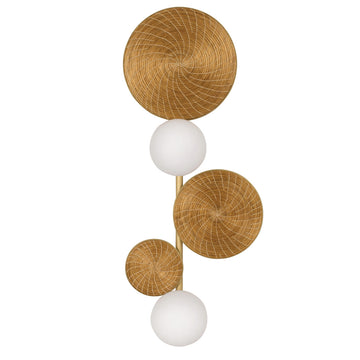 Wall light BRUTA 02 matte brushed brass globes + golden grass