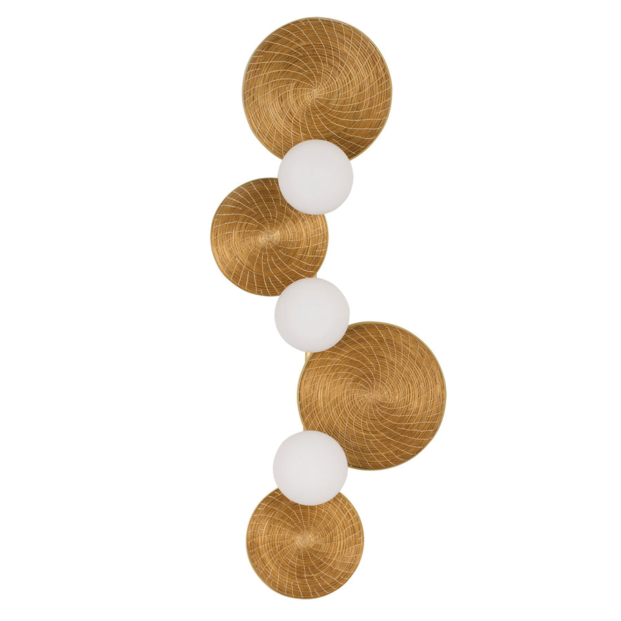 Wall light BRUTA 03 matte brushed globes + golden grass