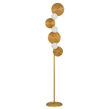 Column BRUTA 03 matte brushed brass globes + golden grass