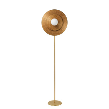 Column BRUTA 01 matte brushed brass globe + golden grass