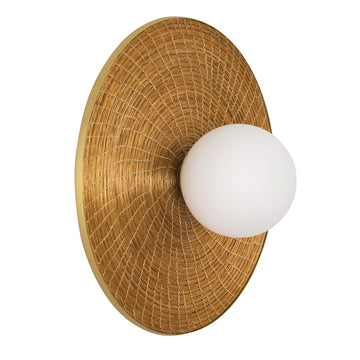 Wall light BRUTA G 01 matte brushed brass globe + golden grass