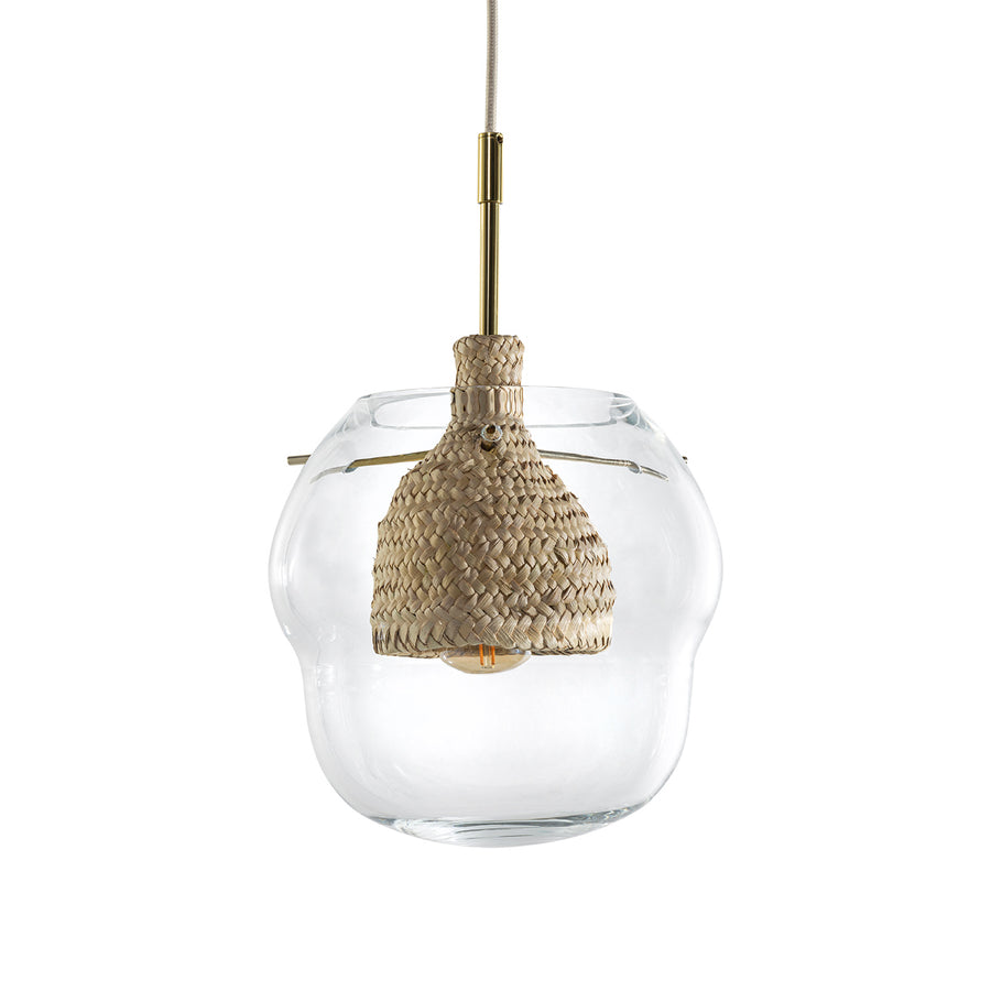 Pendant CABAÇA M polished brass stem and ramrod + blown glass shade + natural woven straw basket