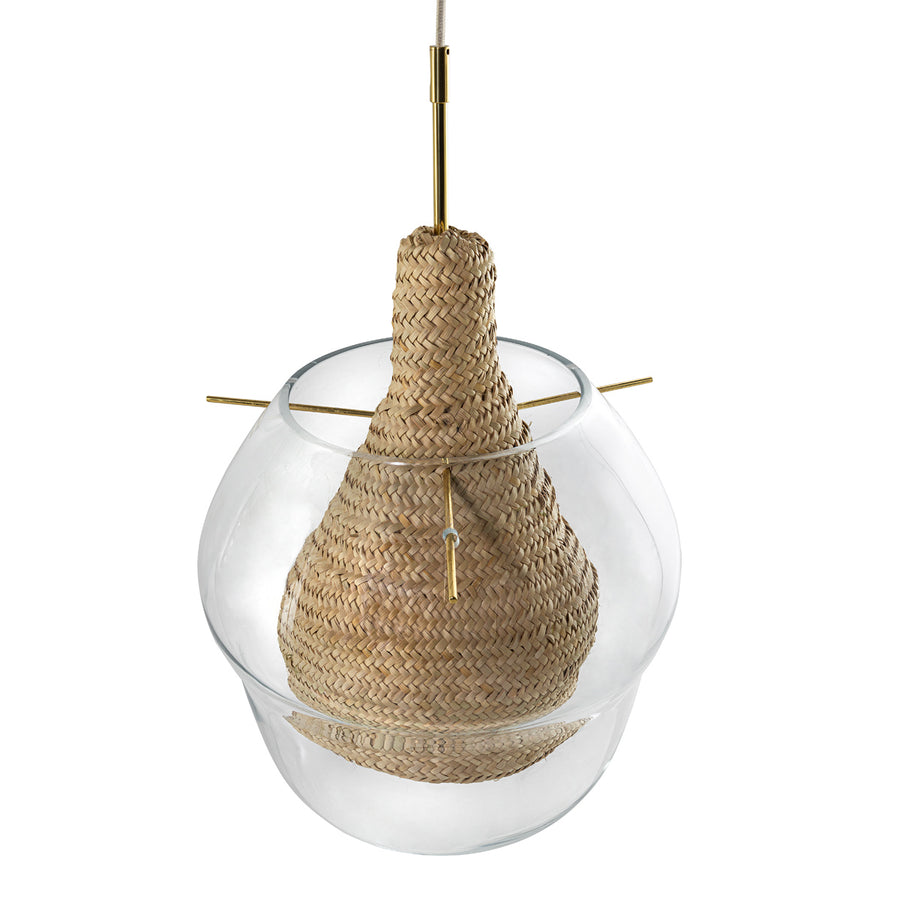 Pendant CABAÇA G polished brass ramrod and stem + blown glass + natural woven straw basket