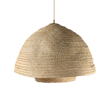 Pendant CARAÍVA double natural woven straw basket and polished brass finish