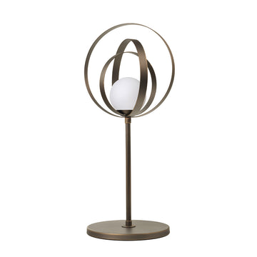 Lampshade CÍRCULO high 01 oxidized matte brass globes (grey)