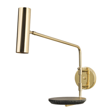 Wall light ELO polished brass + black ebanized wood