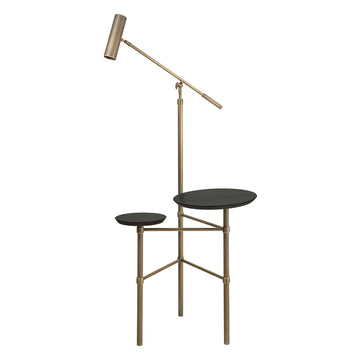 Column ELO oxidized matte brass shade and stem (grey) + double black ebanized cover