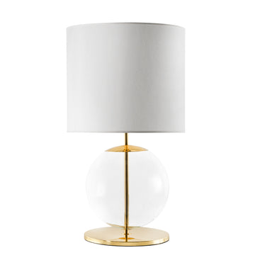 Lampshade ESSI polished brass + blown glass sphere + white linen shade