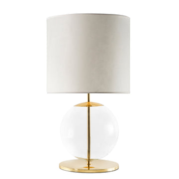 Lampshade ESSI polished brass + blown glass sphere + vegetal parchment shade