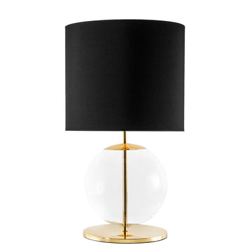 Lampshade ESSI polished brass + blown glass sphere + black linen shade
