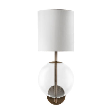 Wall light ESSI oxidized matte brass ( grey) + blown glass sphere + white linen shade