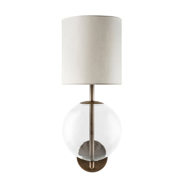 Wall light ESSI M oxidized matte brass (grey) + blown glass sphere + vegetal parchment shade
