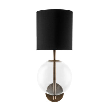 Wall light ESSI M oxidized matte brass (grey) + blown glass sphere + black linen shade