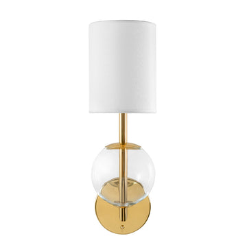 Wall light ESSI P polished brass + blown glass sphere + white linen shade