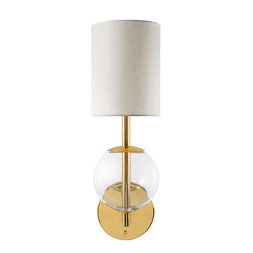 Wall light ESSI P polished brass + blown glass sphere + vegetal parchment shade