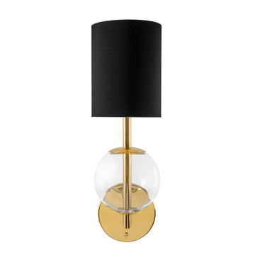 Wall light ESSI P polished brass + blown glass sphere + black linen shade