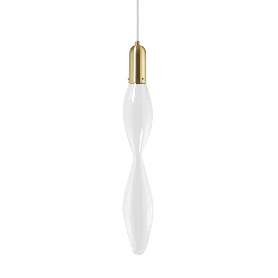 Pendant FLUIDA 5 shine brushed brass and blown glass