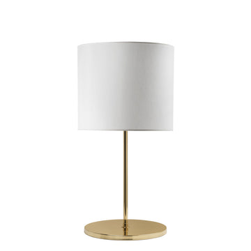 Lampshade FRANCISCO polished brass + white linen shade