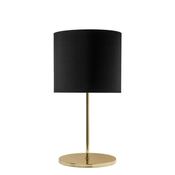 Lampshade FRANCISCO polished brass + black linen shade