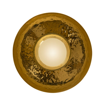 Wall light GIRASSOL solo polished hammered brass shade + polished brass button