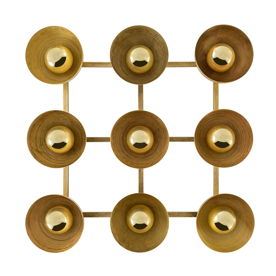 Wall light GIRASSOL 09 natural brushed brass shades + polished brass button