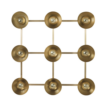 Wall light GIRASSOL 09 shine brushed brass shades + polished button brass