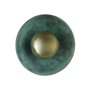 Wall light GIRASSOL emerald patina solo shade + polished brass button