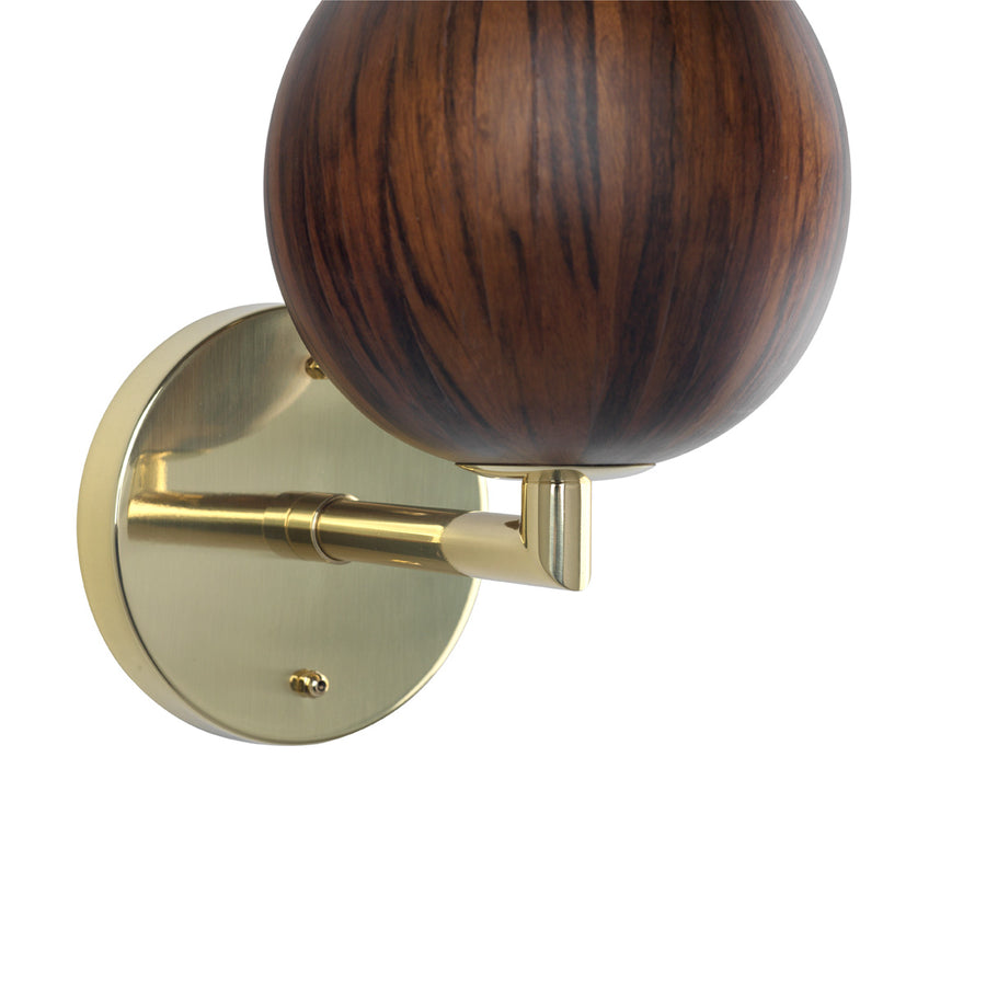 Wall light IMBU 01 polished brass + sphere with imbuia wood blade + vegetal parchment shade