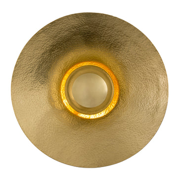 Luminaire GIRASSOL G polished hammered brass shade + polished brass button