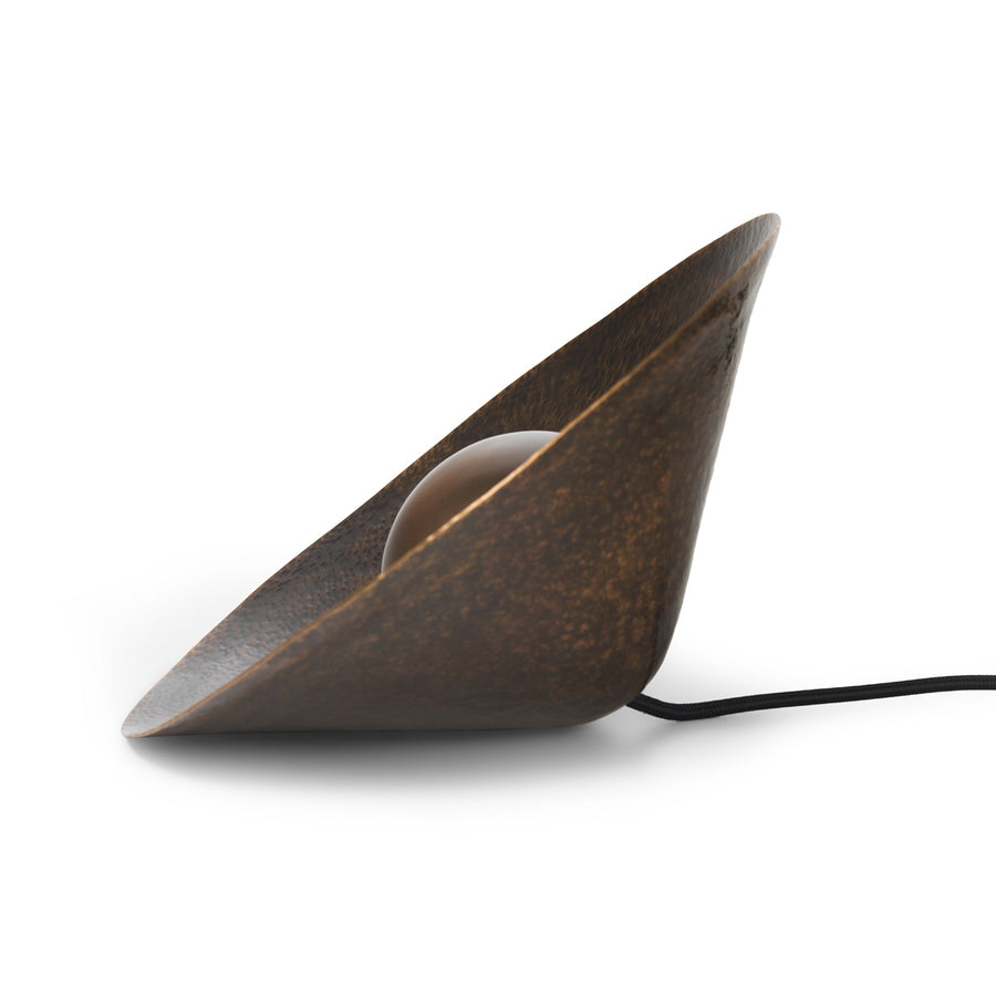 Luminaire GIRASSOL M shine oxidized hammered brass shade (brown) + oxidized button brass (brown)