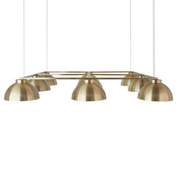 Pendant GIRASSOL 09 shine brushed brass shades + polished brass button