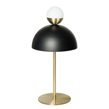 GUARDA CHUVA lampshade black microtexture + stem and brushed brass mini shade gloss