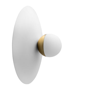 Wall light GUARDA CHUVA plafon white microtexture + mini shade brushed brass