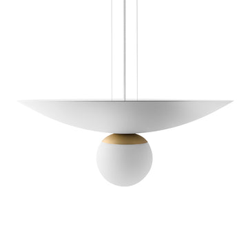 Ceiling light GUARDA CHUVA white microtexture + brushed brass mini shade