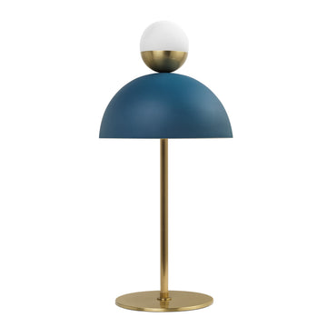 Lampshade GUARDA CHUVA deep blue microtexture shade + mini shine brushed brass shade and stem