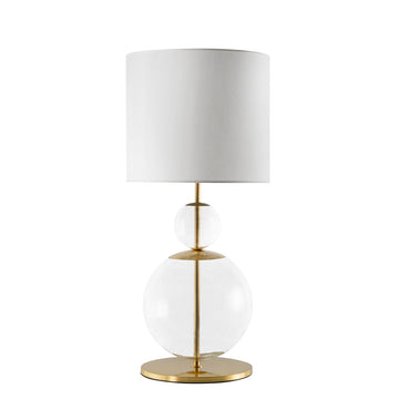 Lampshade MARIA ROSA shine brushed brass + blown glass sphere + white linen shade