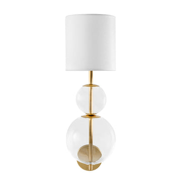 Wall light HENRIQUETA polished brass + blown glass sphere + white linen shade