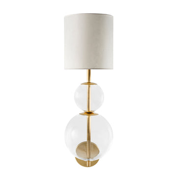 Wall light HENRIQUETA polished brass + blown glass sphere + vegetal parchment shade