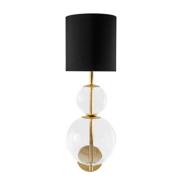 Wall light HENRIQUETA polished brass + blown glass sphere + black linen shade