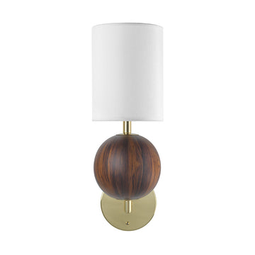 Wall light IMBU 01 polished brass + sphere with imbuia wood blade + white linen shade