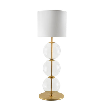 Lampshade IZABEL shine brushed brass + blown glass sphere + white linen shade